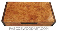 Handmade slim wood box, decorative desktop box made of maple burl with Santos rosewood ends