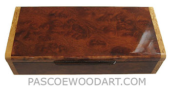 Handmade slim wood box - Decorative wood desktop box made of camphor burl with masur birch ends
