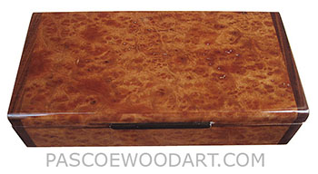 Handmade slim wood box - Decorative wood desktop box or pen box made of camphor burl with Santos rosewood ends