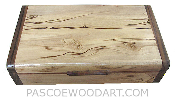 Handmade wood box - Decorative slim wood box, desktop box made of spalted maple with santos rosewood ends