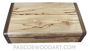 Handmade slim wood box-Decorative wood desktop box made of spalted maple with santos rosewood ends