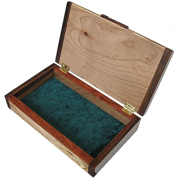 Handmade wood box open view - Decorative slim wood box, desktop box