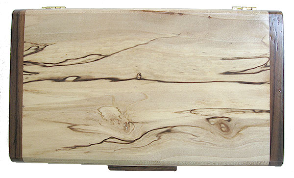 Spalted maple box top - Handmade decorative slim wood box, desktop box