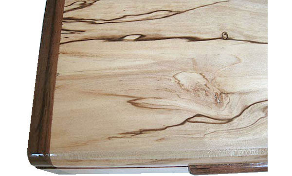Spalted maple box top close up - Handmade decorative slim wood box, desktop box
