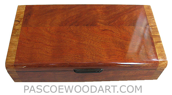 Handmade wood box - Decorative slim wood box, desktop box made of bubinga with maple burl ends