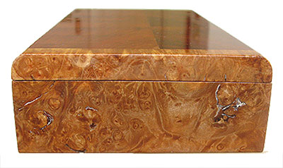 Maple burl box end - Handmade decorative slim wood box