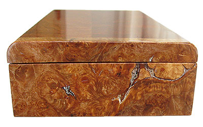 Maple burl box end - Handmade slim wood box