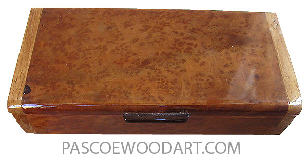 Handmade wood box - Decorative slim wood box or desktop box made of camphor burl with African mahogany ends