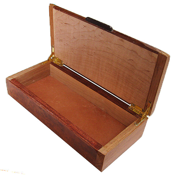 Handmade slim wood box - open view