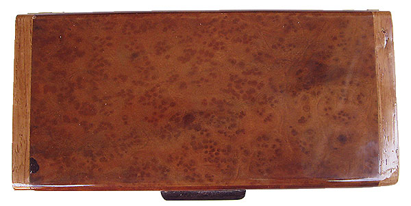 Camphor burl box top - Handmade wood slim box or desktop box