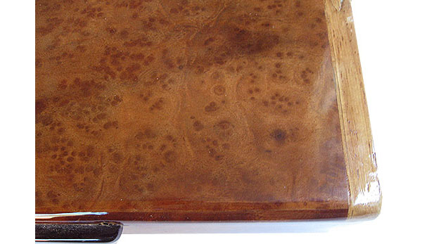 Camphor burl box top close up - handmade slim wood box