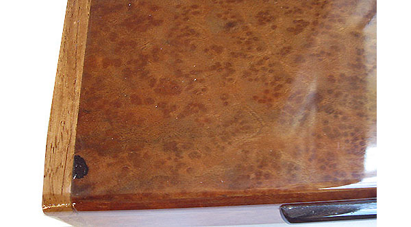 Camphor burl box top close up - Handmade wood slim box
