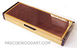 Handmade decorative slimline dekstop box made of Ceylon satinwood, ebony, bubinga