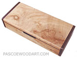 Decorative wood desktop pen box made of burly figured maple with wenge ends