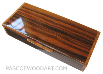 Handcrafted wood box - Decorative wood desktop box made of Indian rosewood with amboyna burl ends