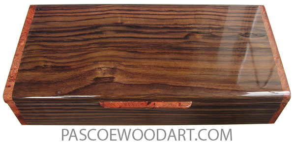 Handcrafted wood box - Slim wood desktop box or  pen box made of East Indian rosewood with amboyna burl