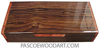 Handcrafted wood box - Slim wood desktop box made of East Indian rosewood with amboyna ends