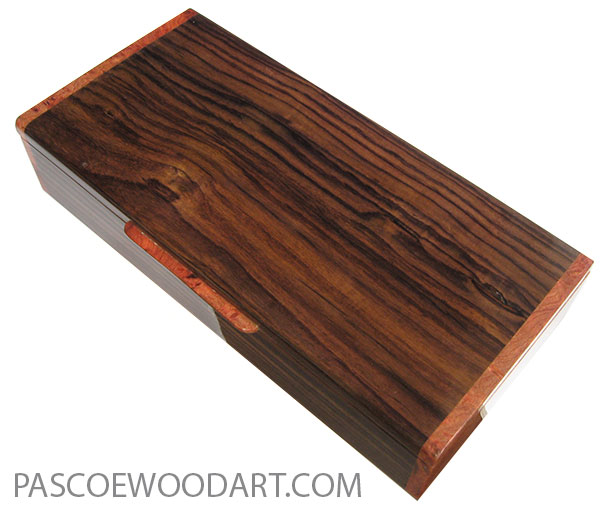 Handcrafted wood box - Slim wood desktop box made of East Indian rosewood with amboyna burl ends