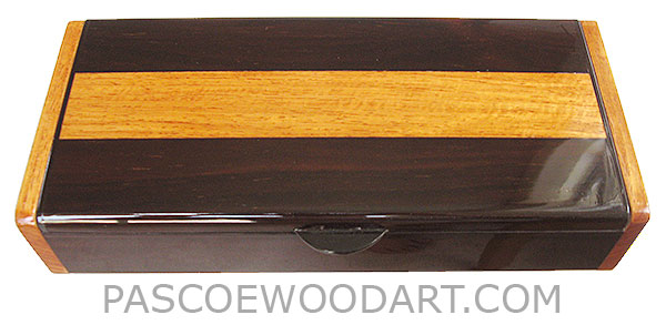 Handcrafted wood box - Decorative wood desktop box made of bois de rose with narra accent and ends