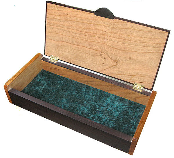 Handcrafted wood box, decorative desktop box - open view