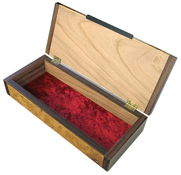 Handmade decorative wood desktop box made of maple burl with Asian ebony