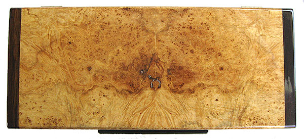 Maple burl box top - Handmade wood desktop box - top view
