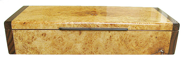 Maple burl box front Handmade wood decorative desktop box or pen box made of maple burl box front