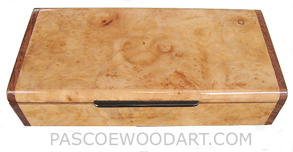 Handcrafted wood box - Decorative wood desktop box made of maple burl with bubinga ends