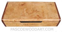 Handcrafted wood box _Decorative wood keepsake box made of maple burl with bubinga ends