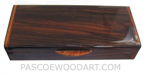 Handcrafted wood box - Decorative wood desktop pen box made of Indian rosewood with amboyna burl lift handle
