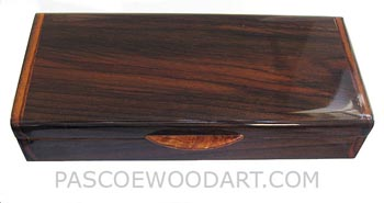 Handcrafted wood desktop box - Decorative wood pen box made of Indian rosewood with amboyna burl lift handle