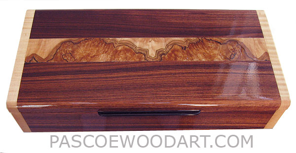Handcrafted wood box - Decorative wood desktop box made of Brazilian kingwood with spalted maple burl indalid top, figured maple ends