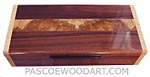 Handcrafted wood box - Decorative wood desktop box made of Brazilian kingwood with spalted maple burl inlaid top, figured maple ends