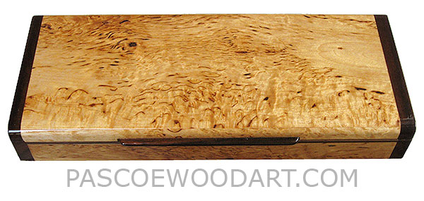 Handcrafted wood box - Decorative wood desktop pen box made of masur birch with Indian rosewood ends