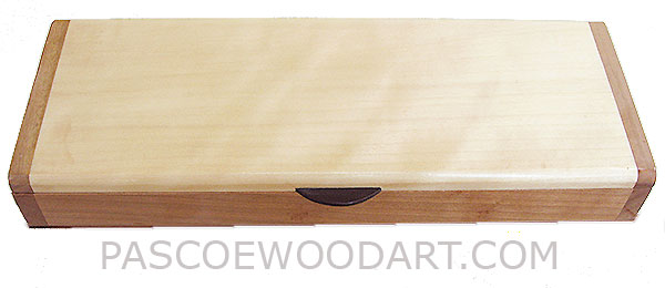 Handmade slim wood box, decorative desktop box made of cherry base with aspen top