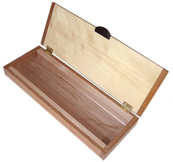 Handmade slim wood box, decorative wood desktop box open view