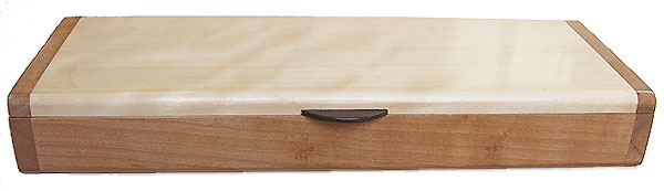 Cherry box front - Handmade slim wood box, desktop box