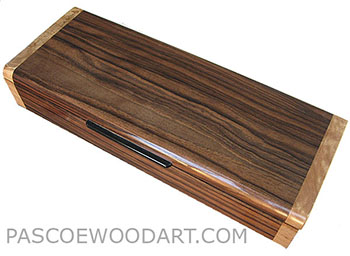 Handmade wood slim box, decorative wood desktop box made of macassar ebony with maple burl ends