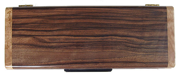 Macassar ebony box top - handmade decorative wood slim box, desktop box
