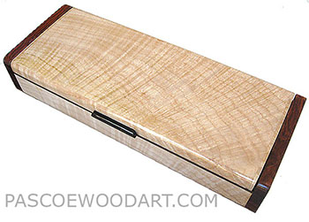 Handmade wood box - Decorative wood slim box, desktop box made of figured maple with cocobolo ends