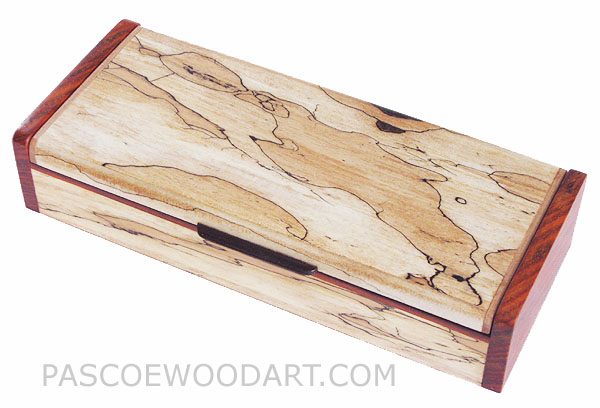 Decorative wood desktop box - Handmade spalted maple wood pen box with cocobolo ends