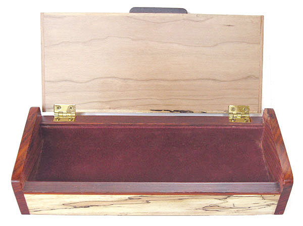 Decorative wood desktop box open view - Handmade wood pen box
