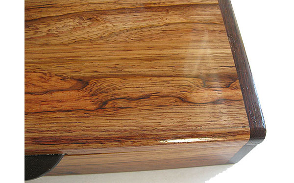 Honduras rosewood box top close up - Handmade decorative slim wood box, desktop box