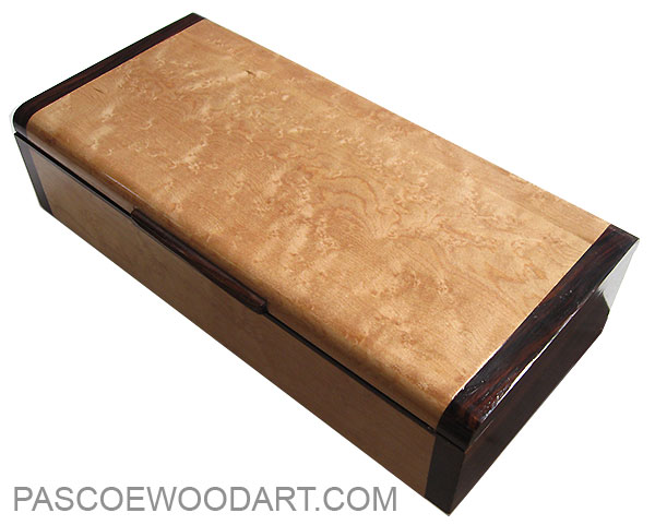 Handmade wood box - Decorarive slim wood desktop box made of birds eye maple with cocobolo ends
