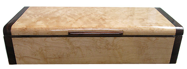 Birds eye maple box front - Handmade decorative slim wood desktop box