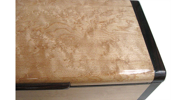 Maple burl box top close up - Handmade decorative slim wood box