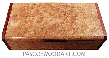 Handmade wood box - Decorative slim box, desktop box made of maple burl with bubinga ends