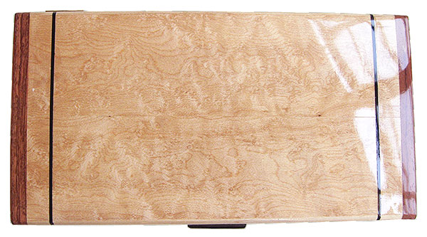 Birds eye maple box top - Handmade wood decorative desktop box or keepsake box