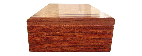 Bubinga box end - Handmade slim wood box