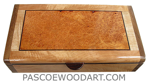 Handmade wood box - Decorative wood desktop box, slim wood box made of Pacific maple with amboyna burl inset top with shedua ends